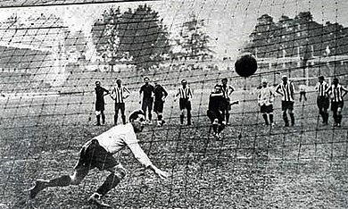 In the 1920 Olympic football final at the Olympisch Stadion in Antwerp, Robert Coppee scored for Belgium with a penalty kick. 1920 Olympic football final (Belgium v. Czechoslovakia), penalty Coppee.jpg