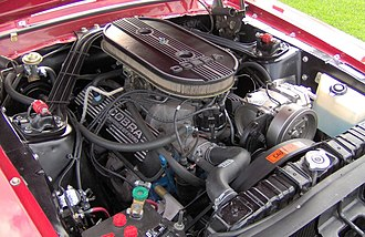 Ford Windsor engine - Ford 289 K-code engine in a Shelby GT 350: The radiator hose connects to the intake manifold, a telltale Windsor feature.