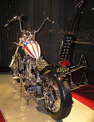 Outline of motorcycles and motorcycling - A 1969 Harley-Davidson chopper, a replica of the 'Captain America' bike from Easy Rider
