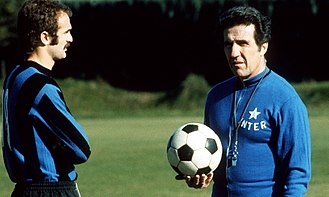 Helenio Herrera - Sandro Mazzola and Herrera with Inter Milan in 1973