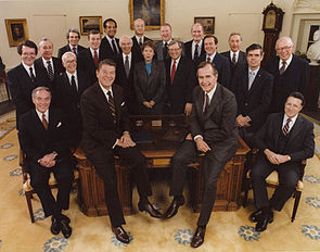 Jeane Kirkpatrick (in the center) with the other members of the Reagan Administration, 1981