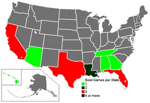 1983–84 NCAA football bowl games - Number of bowl games per state.