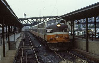 Shore Line East - The PATrain at Pittsburgh in 1985. After that service ended in 1989, ConnDOT purchased the equipment for use on Shore Line East.