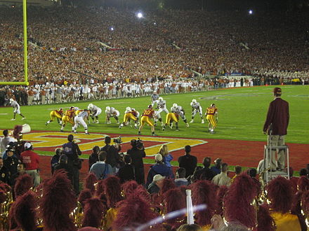 2006 Rose Bowl: Texas defeated Southern California 41-38 on January 4, 2006 2006 Rose Bowl go-ahead touchdown.jpg