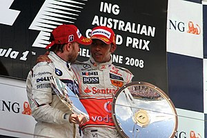 2008 Australian Grand Prix - Lewis Hamilton and Nick Heidfeld, who finished first and second, on the podium after the race.