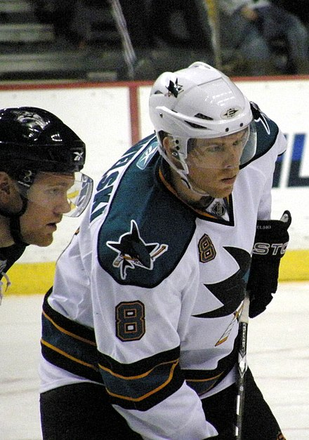 Pavelski during a game against the Nashville Predators in the 2009-10 season. 20100206 Joe Pavelski (4354134463).jpg