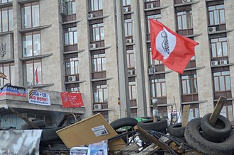 The Other Russia (party) - Party flag of The Other Russia in Donetsk, Ukraine during a pro-Russian unrest in April 2014