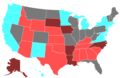 2014 United States Senate Election by Change of the Majority Political Affiliation of Each State's Delegation From the Previous Election.png