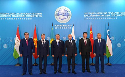 Leaders present at the SCO summit in Ufa, Russia in 2015 2015 Summit of the Shanghai Cooperation Organization 03.jpg
