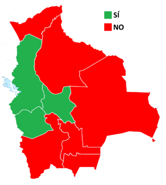 Bolivian constitutional referendum, 2016 - Image: 2016 Bolivian referendum map