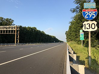 Greenwich Township, Gloucester County, New Jersey - I-295 and US 130 southbound in Greenwich Township