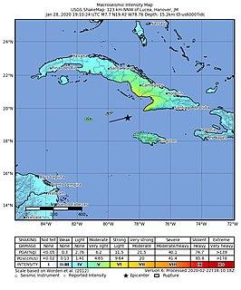 2020 Caribbean earthquake Earthquake between Jamaica and Cuba