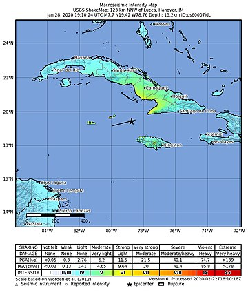2020-01-28 Lucea, Jamaica M7.7 earthquake shakemap (USGS).jpg