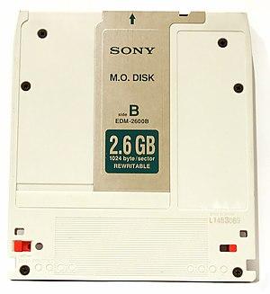 Magneto-optical drive - A 130 mm 2.6GB magneto-optical disc.