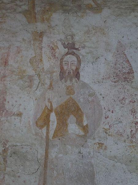 Fresque représentant saint Christophe.