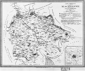 United Macedonia - Map of the whole geographical region of Macedonia as seen by F. Bianconi, 1885.
