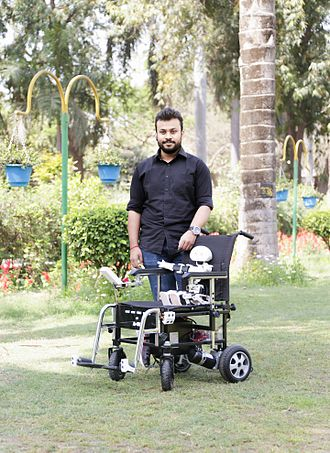 Brain–computer interface - Diwakar Vaish, an inventor of a brain-controlled wheelchair, during a press ceremony.