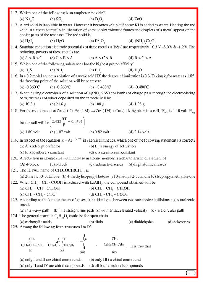 question bank for high school science  chemistry  aieee2003