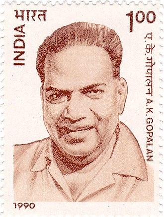 A. K. Gopalan - Gopalan on a 1990 stamp of India
