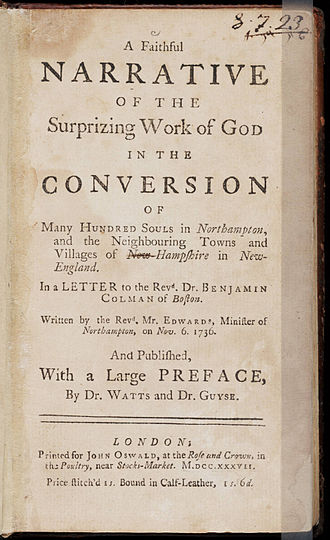 Jonathan Edwards (theologian) - Image: A Faithful Narrative of the Surprizing Work of God by Jonathan Edwards 1737
