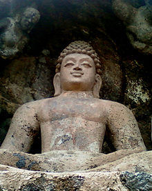 A Rock cut Seated Buddha Statue at Bojjannakonda, Visakhapatnam District.jpg