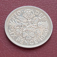 A bride's lucky sixpence