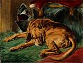 A dead bloodhound lying on a rug next to a helmet and a loom Wellcome V0020857.jpg