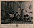 A guardroom; an officer holds up a map to show to a man smok Wellcome V0040553.jpg