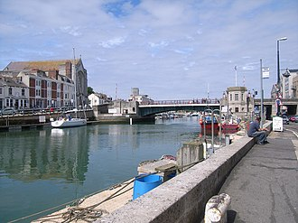 Weymouth Harbour, Dorset - A view of Weymouth Harbour with the town bridge in the distance.