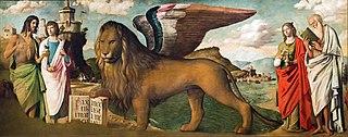 The Lion of Saint Mark between Saints John the Baptist, Mark, Mary Magdalene and Jeronimo