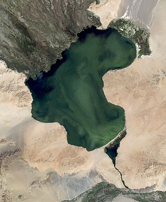 Achit Lake - Achit Lake satellite image (Landsat-7, 2007-08-13)