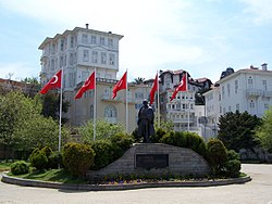 One of the main squares of the island, with the statue of Mustafa Kemal Atatürk.