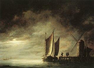 Dordrecht Harbor by Moonlight
