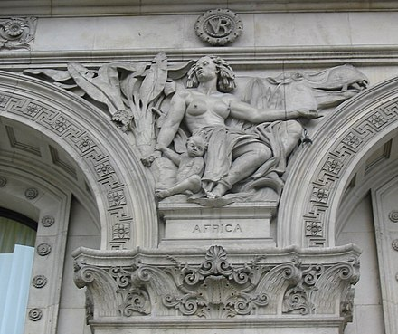 Sculptural representation of Africa at the Colonial Office building on Whitehall street; created by Henry Hugh Armstead Africa Whitehall.jpg