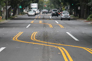 Complete streets - New road distribution in  Davis (CA). Now pedestrian and cyclists have better safety conditions