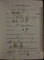Ah Ko Auckland Chinese poll tax certificate butts Certificate issued at Auckland.jpg