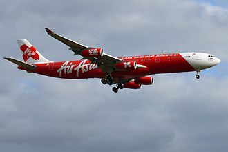 AirAsia X - AirAsia X Airbus A340-300 approaching London Stansted Airport