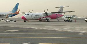 Air Carnival - An Air Carnival ATR 72-500 at Dubai International Airport awaiting delivery
