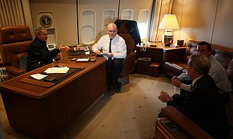 Boeing VC-25 - President George W. Bush, Bill McGurn, Stephen Hadley and Ed Gillespie gather in the president's office aboard Air Force One en route to Bahrain in January 2008.