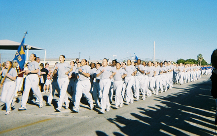 A group of Airmen taking part in the Airman's Run, the final run before graduation. Airman's Run.png