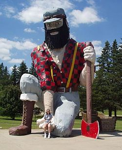 Paul Bunyan and cradle