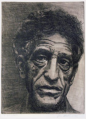Alberto Giacometti - Portrait of Alberto-Giacometti, (etching by Jan Hladík, 2002)
