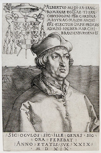 History of Lutheranism - Cardinal Albrecht of Hohenzollern, Archbishop of Mainz and Magdeburg, was using part of the indulgence income to pay bribery debts; portrait by Albrecht Dürer, 1519