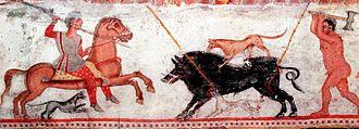 Thracian tomb of Aleksandrovo - Hunting scene on the main chamber fresco