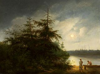 Nocturnal landscape with fishermen.
