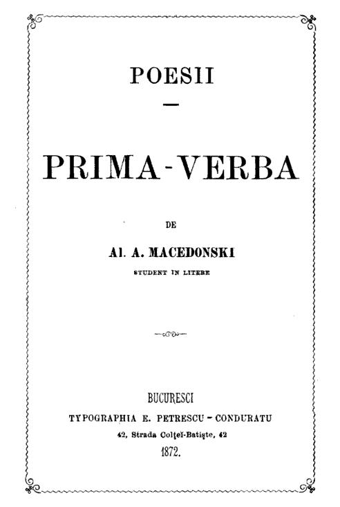 Alexandru Macedonski - prima pagina - Prima verba