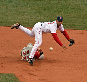 Alex Cora - Cora with the Red Sox, turning a double-play against the Los Angeles Angels of Anaheim at Fenway Park on April 16, 2007