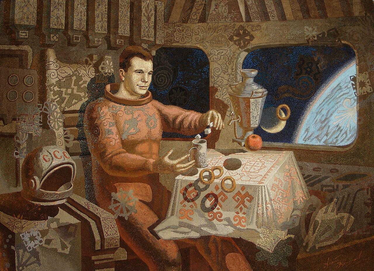 Una bonita representación artística del primer vuelo espacial de Yuri Gagarin.  Pintura de Alexey Akindinov