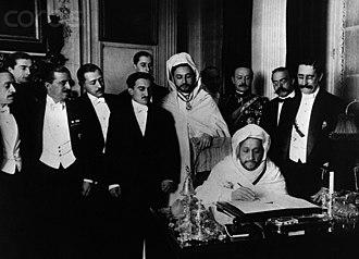 Algeciras Conference - El-Hadj el-Mokri, Moroccan Ambassador to Spain, signs the treaty at the Algeciras Conference 7 April, 1906.
