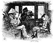 """Une illustration de """"Through the Looking Glass"""", mettant en vedette l'homme en papier blanc, qui est basé sur Disraeli"""